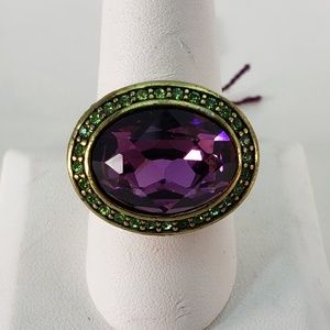 Cool Brass Ring with Oval Amethyst Crystal Setting